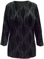 SALE! Plus Size Black with Glittery Wavy Silver Lines 3/4 Sleeve Slinky Top 3x