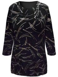 SALE! Plus Size Black with Rainbow Glitter Strokes 3/4 Sleeve Slinky Top 2x 3x