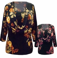 SALE! Plus Size Black with Red or Brown Flowers Cowl Neck Slinky Top M 1x 2x