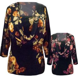 SALE! Plus Size Black with Red or Brown Flowers Cowl Neck Slinky Top M 1x 2x 3x