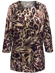 SALE! Plus Size Reddish Brown Animal Print 3/4 Sleeve Slinky Top 1x 2x
