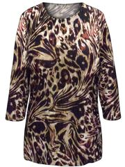 cf2951a88c4d1 SALE! Plus Size Reddish Brown Animal Print 3 4 Sleeve Slinky Top 1x 2x