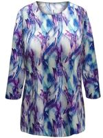 SOLD OUT! SALE! Plus Size Purple & Blue Abstract Print 3/4 Sleeve Slinky Top 2x