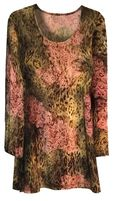 SALE! Plus Size Pink and Green Floral Animal Print 3/4 Sleeve Slinky Top 2x