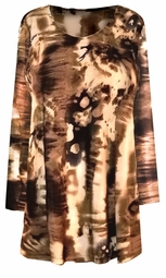 CLEARANCE! Plus Size Brown Abstract Print 3/4 Sleeve Slinky Top 2x