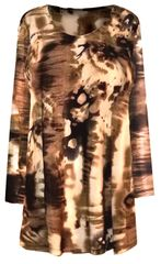 SALE! Plus Size Brown Abstract Print 3/4 Sleeve Slinky Top 2x