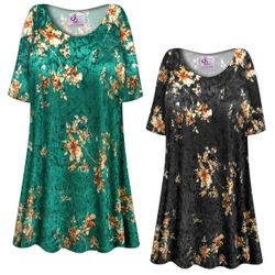 SALE! Customizable Green or Black Crush Velvet Floral Print Plus Size & Supersize Short or Long Sleeve Shirts - Tunics - Tank Tops - Sizes Lg XL 1x 2x 3x 4x 5x 6x 7x 8x 9x