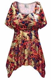 SALE! Customizable Plus Size Metallic Red Black and Blue Slinky Print Babydoll Top 0x 1x 2x 3x 4x 5x 6x 7x 8x