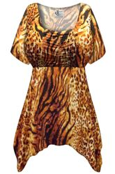 SALE! Customizable Plus Size Black & Orange Animal Slinky Print Babydoll Top 0x 1x 2x 3x 4x 5x 6x 7x 8x