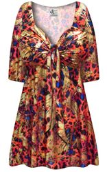 SALE! Plus Size Metallic Red Black and Blue Slinky Tie Babydoll Shirt Sizes Lg XL 1x 2x 3x 4x 5x 6x 7x 8x
