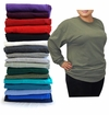 FINAL CLEARANCE SALE! Plus Size Unisex Black White Gray Red Purple Green or Blue Long Sleeve T-Shirt XL 2x 3x 4x 5x