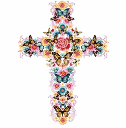 SALE! Cross With Flowers and Butterflies Plus Size & Supersize T-Shirts S M L XL 2x 3x 4x 5x 6x 7x 8x 9x (All Colors)