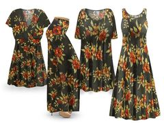 NEW! Plus Size Autumn Sun Floral Print SLINKY Dresses Tops Skirts Pants Palazzo�s & Skirts - Sizes Lg to 9x