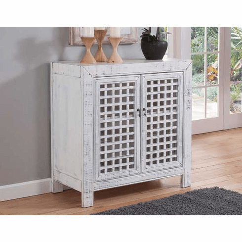 """Andres White Accent Cabinet 38""""L"""