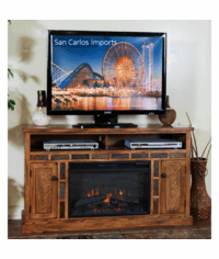 "Arizona Rustic Oak 54"" TV Stand with Fireplace"