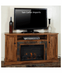 "Arizona Rustic Oak 60"" TV Stand With Fireplace"