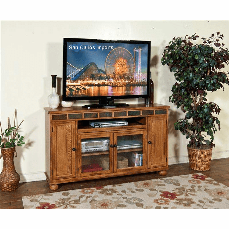 "Arizona Rustic Oak 62"" TV Stand w/ Pull Out Tray"