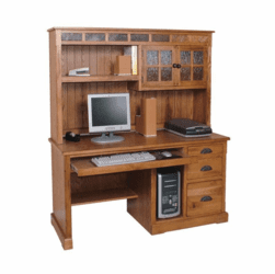 Arizona Rustic Oak and Slate Computer Desk w/ Hutch