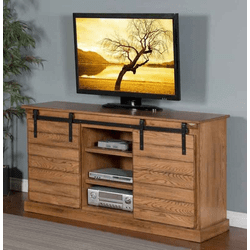"Arizona Rustic Oak Barn Door 65"" TV Stand"