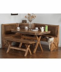 Arizona Rustic Oak Breakfast Nook Set W/ Upholstered Seats