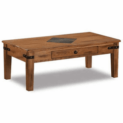 Arizona Rustic Oak Coffee Table w/ Slate & Drawer