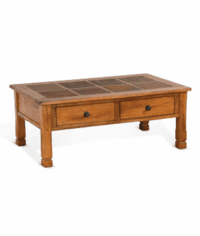 Arizona Rustic Oak Coffee Table W/ Slate Tiles Top