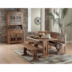 Arizona Rustic Oak Corner Breakfast Nook & Hutch and Buffet Set