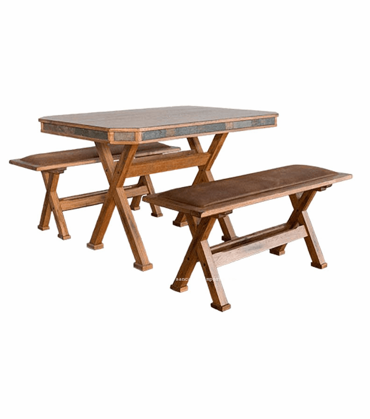 Arizona Rustic Oak Dining Table Set With Benches
