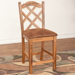 Arizona Rustic Oak Double Cross Bar Stool