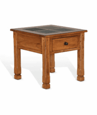 Arizona Rustic Oak End Table W/ Slate Tiles Top
