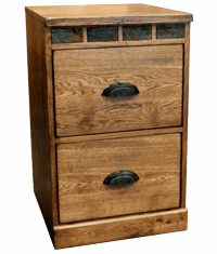 Arizona Rustic Oak File Cabinet 2 Drawers
