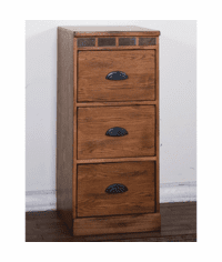 Arizona Rustic Oak File Cabinet 3 Drawer
