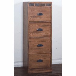 Arizona Rustic Oak File Cabinet 4 Drawers