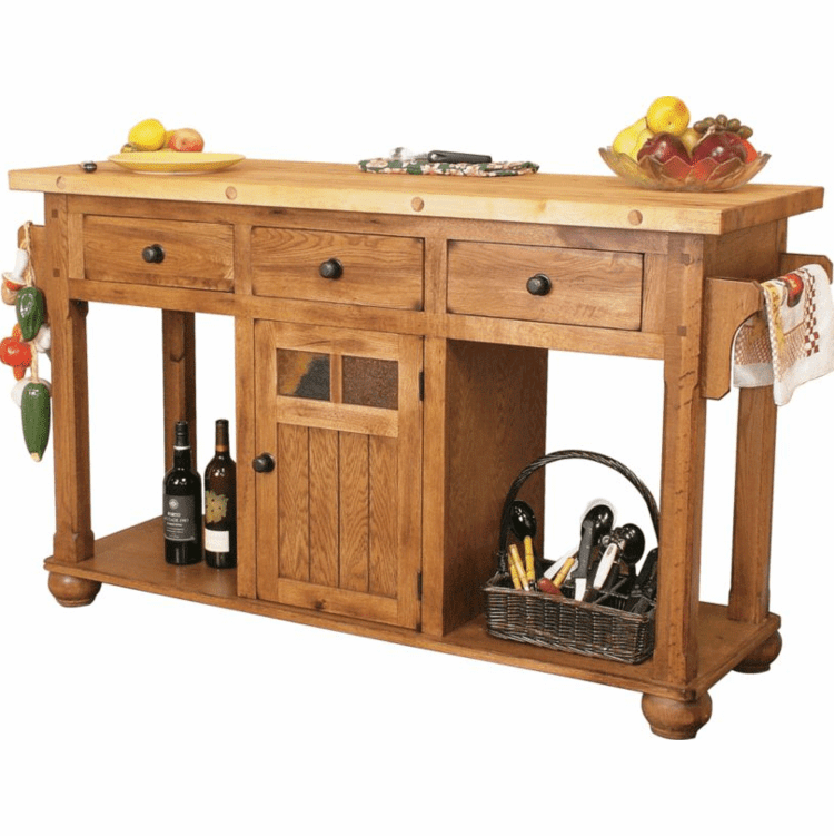 Rustic Oak Kitchen Island Butcher Block, Oak Kitchen Island