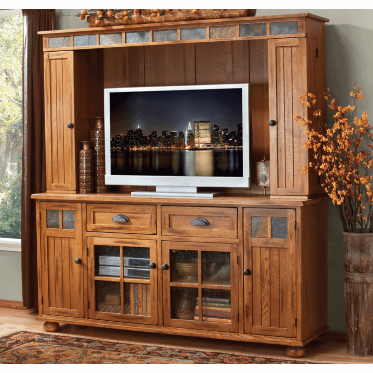 Arizona Rustic Oak Media Entertainment Center