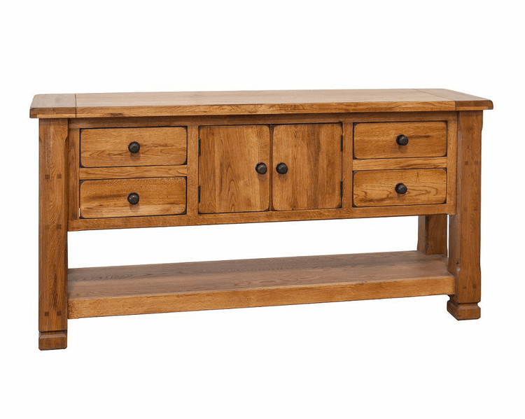 Arizona Rustic Oak Occasional Sofa Table W/ Middle Cabinets