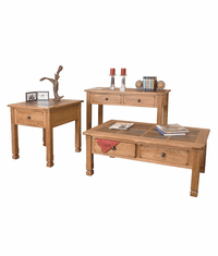 Arizona Rustic Oak Occasional Table Set W/ Slate Top