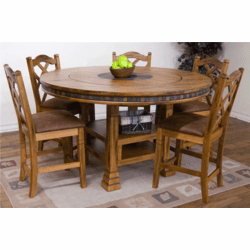 Arizona Rustic Oak Round Pub Table Set W/ 8 Bar Stools