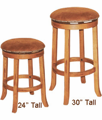 Arizona Rustic Oak Round Swivel Barstool