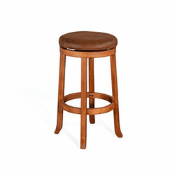 "Arizona Rustic Oak Round Swivel Barstool <br>24"" & 30"""