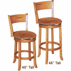 Arizona Rustic Oak Round Swivel Barstool With Back