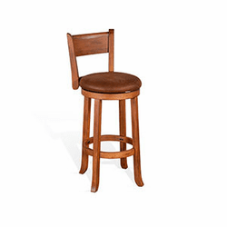 Arizona Rustic Oak Round Swivel Counter & Bar Stool With Back