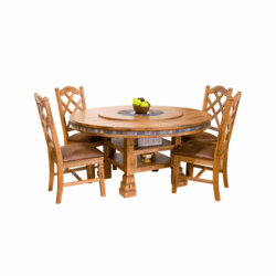 Arizona Rustic Oak Round Table Set W/ 8 Chairs