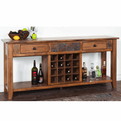 Arizona Rustic Oak Server W/ Wine Rack