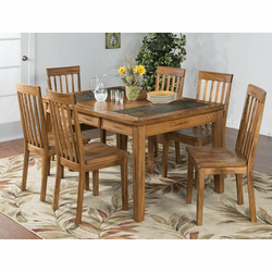 Arizona Rustic Oak Slate Top Dining Table Set W/ 6 Chairs