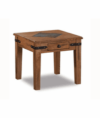 Arizona Rustic Oak Slate Top End Table w/ Drawer