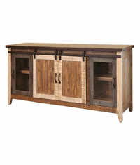 "Aspen Antique Multi Color Barn Door 70"" TV Stand"