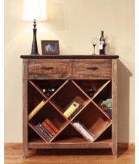 Aspen Antique Multi-Color Bookcase and Wine Rack
