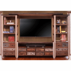 Aspen Antique Multi Color Entertainment Center Wall Unit
