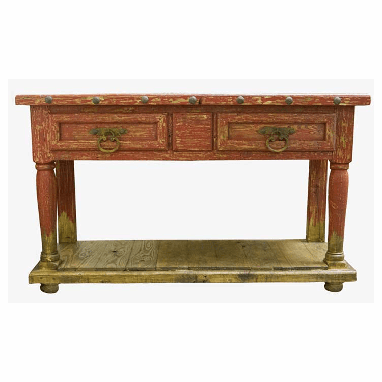 Antique Red Console Table Sofa